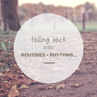 falling back into routines + rhythms….