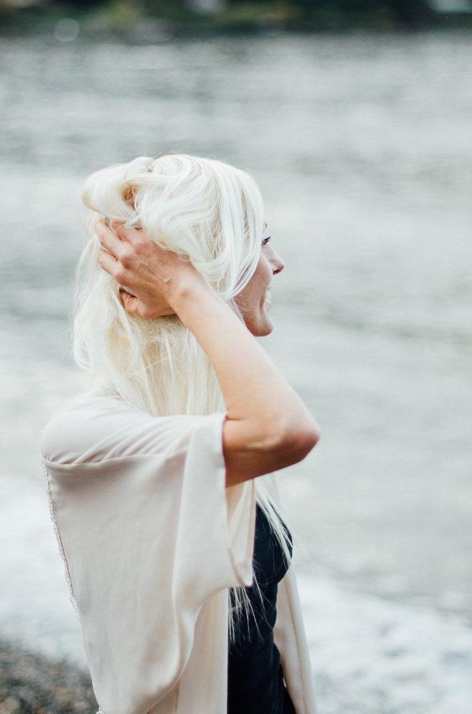 Leah Goard gazing at the ocean